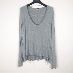 Free People Blue Thermal Long Sleeve Raw Hem